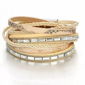 Bracelet/Cuff, Faux Leather Snake Skin Print